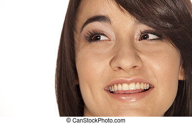 Friendly face - Gorgeous young woman\'s face, closeup, with...