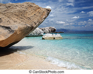 Sardinia beach - Big rocks and emerald water at Cala...