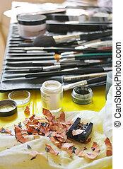 Visagiste working place - Set of professional make-up...