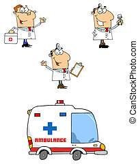 Doctors Cartoon Characters-Vector C - Collection of three...