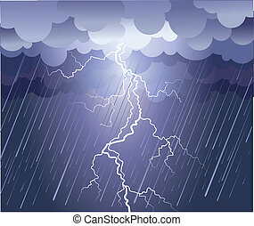Lightning strike.Vector rain image with dark clouds