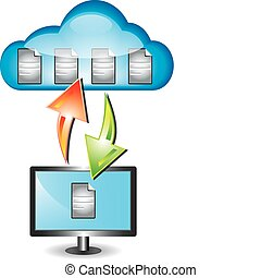 Cloud computing concept with cloud and desktop computer