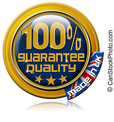 "Guarantee quality 100% made in Uk - Icon marked ""100%..."