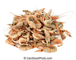 Shrimp stacked side by side surrounded by white