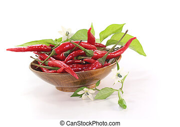 Chilis - fresh red chili peppers with leaves and flowers in...