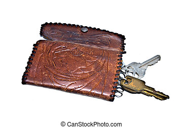 Old Stamped Leather Key Holder - An old handmade leather...
