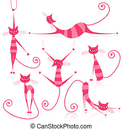 Graceful pink striped cats for your design