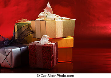 Christmas Gifts with Ribbons