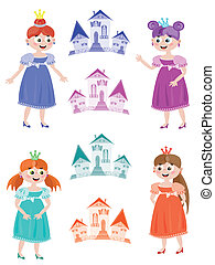 Fairy or princess with towers, set