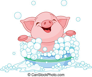 Piglet taking a bath - Cute Piglet taking a bath