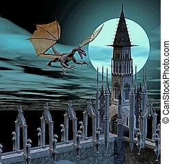 dragon castle - 3d render
