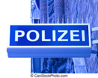 police polizei - german police sign polizei in blue ight