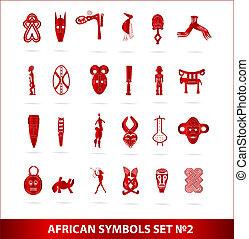 god african symbols set vector red color