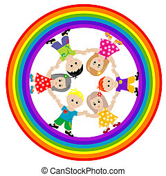Children on rainbow