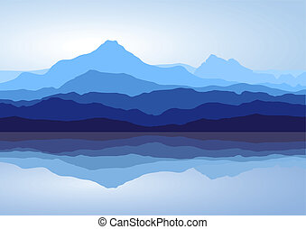 Blue mountains near lake - View of blue mountains with...