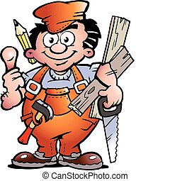 Carpenter Handyman - Hand-drawn Vector illustration of an...
