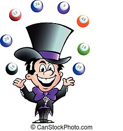 Juggling Bingo Man - Hand-drawn Vector illustration of an...