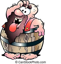 Man in a Beer Barrel - Hand-drawn Vector illustration of an...