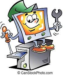 computador, reparar, mascote