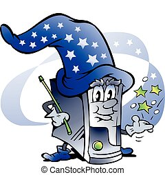 Wizard Computer Repair Mascot - Hand-drawn Vector...