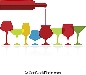 pour of wine into wine colorfull glasses on white background