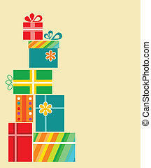 Set of present boxes . birthday card template