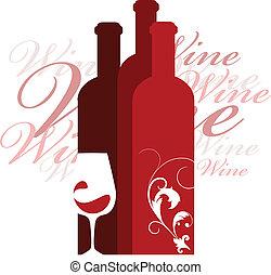 vino, vidrio, vector, diseño, plantilla
