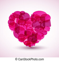 Heart made from pink cartoon bubbles