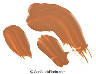 Beige tone cream (foundation) makeup samples, isolated on white