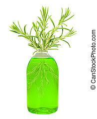 Green bottle with rosemary