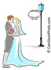 Kissing Couple - illustration of newly wed couple kissing...