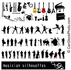 musican silhouettes set
