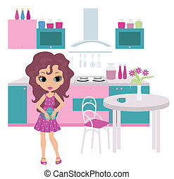 Cartoon girl on kitchen bears a tea - no gradient, color...