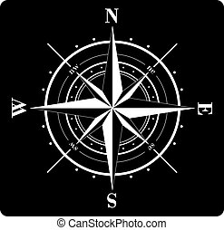 Compass Rose - White compass rose  isolated on black