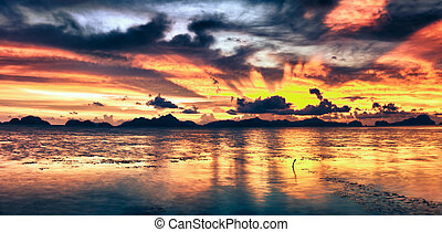 Fantasy sunset over the sea Palawan Philippines