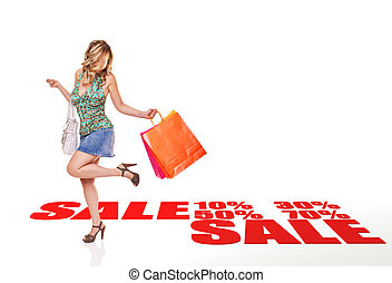 sale shopping - standing woman with shopping bag and 3d...