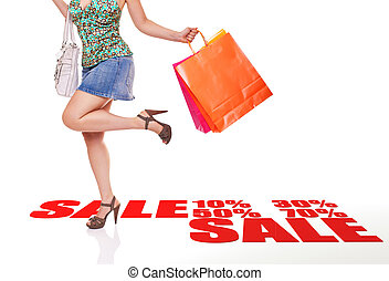sale shopping - caucasian woman with shopping bag and 3d...