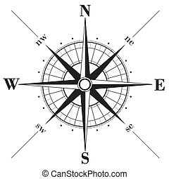 Compass Rose - Black compass rose  isolated on whte