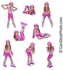 Roller skater girl in different positions - Happy roller...