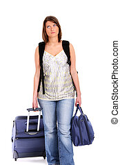 Tired traveller - A picture of a young tired woman with...