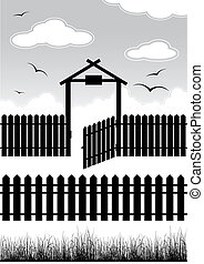 Black fence with gate - elements for design