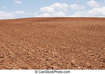 tilled agricultural field with blue sky and white clouds