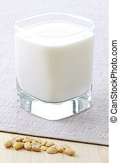 delicious soy milk - fresh and healthy glass of soy milk...