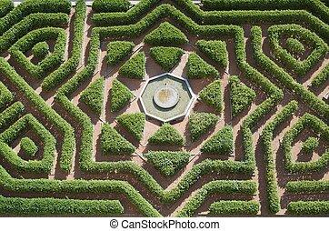 garden - overhead view of a formal garden in the Alcazar of...
