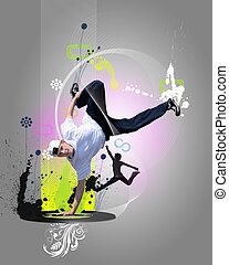 Street dancer in a white shirt on an abstract background....