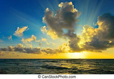 salida del sol, encima, atlántico, Océano