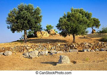 ruínas, santuário, Poseidon
