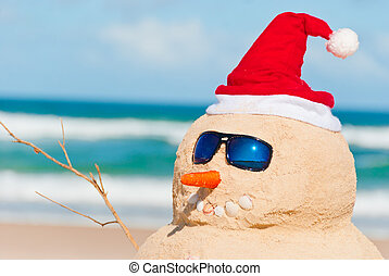 Perfect Sandman With Carrot Nose And Sunnies - Happy snowman...