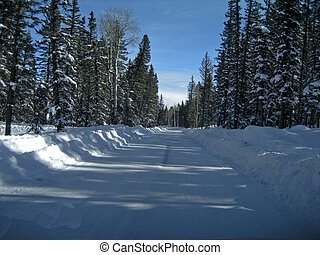 Country road in the snow - Country road on the way in the...