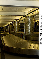 Empty Baggage Claim in the Denver airport late in the...